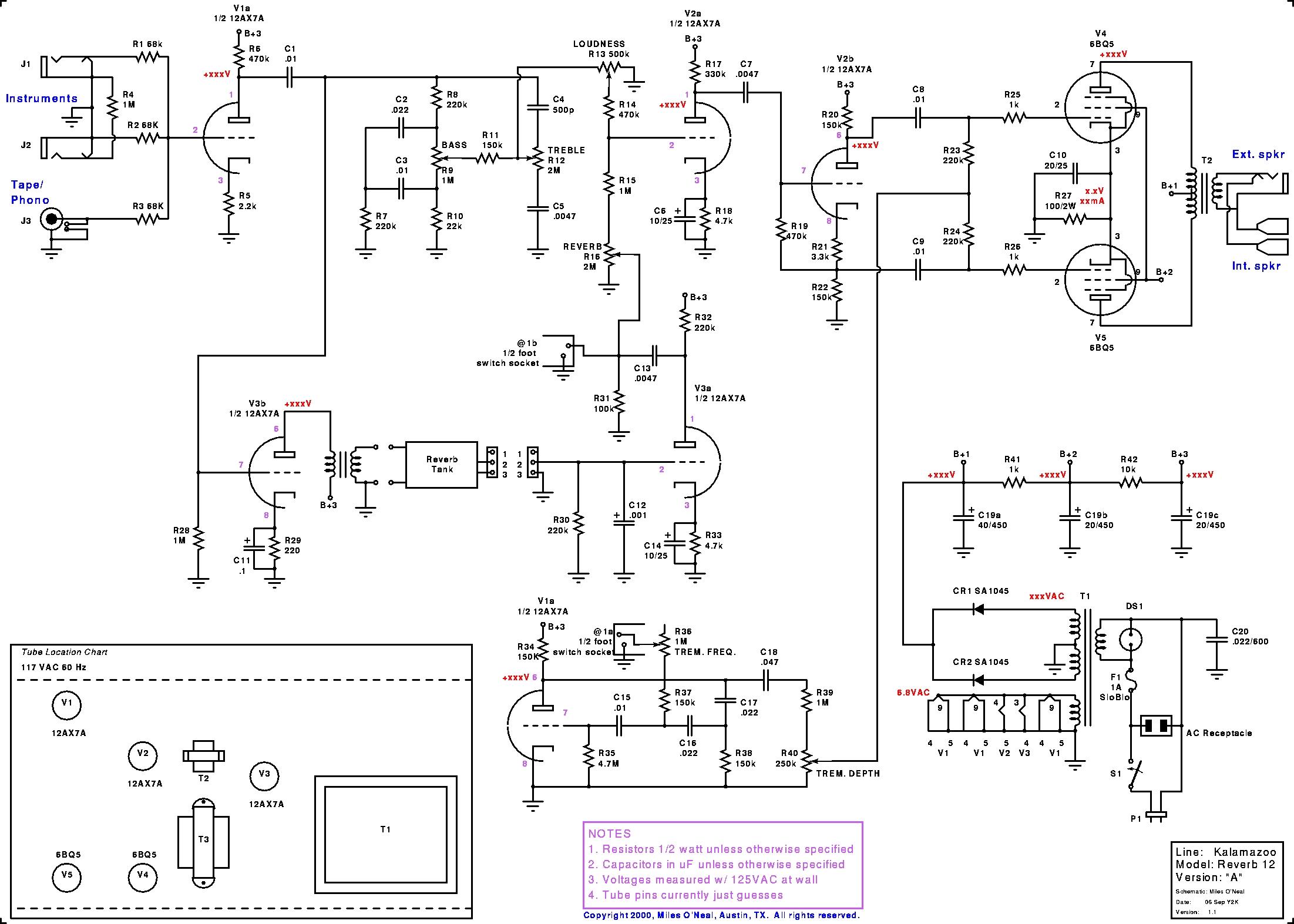 Ревербератор пружинный схемы