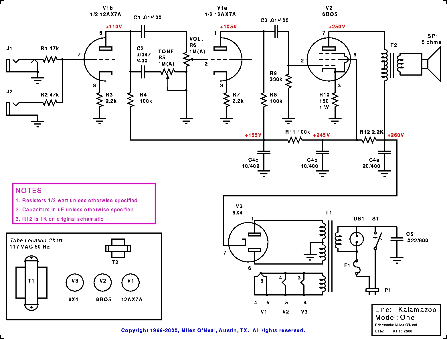 one amp wiring diagram